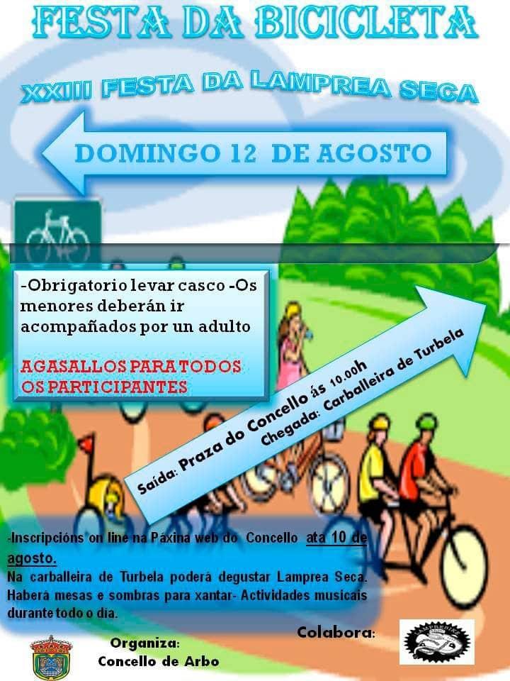 O Concello de Arbo organiza no marco da XXIII Festa da Lamprea Seca a Festa da Bicicleta